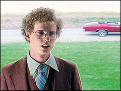 _Napoleon Dynamite_ star Jon Heder wears a bewildered expression as he stands against the backdrop of Preston, Idaho.