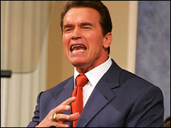 California Gov. Arnold Schwarzenegger speaks at a gathering of the California Commonwealth Club in San Francisco, Wednesday, July 19, 2006.