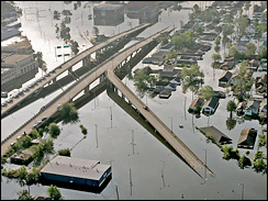 Buildings and roads flooded after Hurricane Katrina, New Orleans, Louisiana, Aug. 30, 2005.