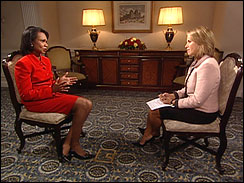 Secretary                            of State Condoleezza Rice and Katie Couric