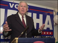 Rep. John Murtha, D-Pa., speaks at his campaign headquarters in Johnstown, Pa., Nov. 8. 2006.