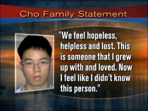 Cho Seung-Hui's family went into hiding after Monday's tragedy. His sister