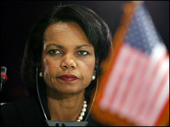 US Secretary of State Condoleezza Rice attends the opening session of the Iraq conference