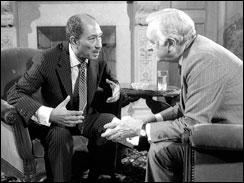 Walter Cronkite interviews Egyptian President Anwar Sadat.
