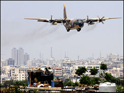 military transport plane landing at Beirut International Airport