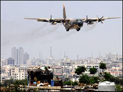 military transport plane landing at Beirut International Airport
