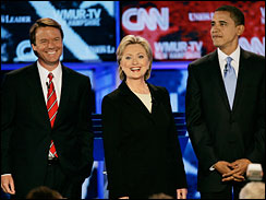 John Edwards, Hillary Clinton, Barack Obama, New Hampshire debate