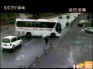 Cyclist Hit By Bus In China