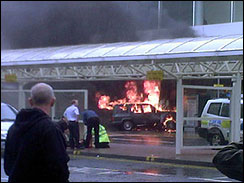 Jeep in flames, Glasgow Airport, June 30, 2007