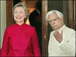 Sen. Hillary Rodham Clinton, with Indian Foreign Minister Natwar Singh