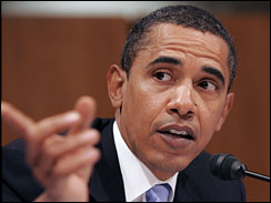 Sen. Barack Obama, D-Ill., questions Gen. David Petraeus and Ambassador Ryan Crocker