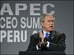 President George W. Bush addresses the CEO summit at the Asia Pacific Economic Cooperation, APEC, in Lima
