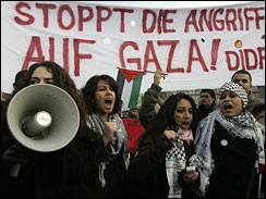 Pro-Palestinian demonstraters take part in a protest against Israel's military operation in Gaza, in Duesseldorf