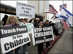 Supporters of Israel's recent attacks on Gaza and Hamas rally at the Federal Building in Westwood area of Los Angeles