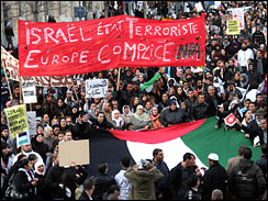 Demonstrators in Marseille carry a large Palestinian flag in a protest against Israel's military operation in Gaza