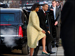President-elect Barack Obama and Michelle Obama arrive for church service at St. John's Episcopal Church