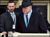 Sen. Edward Kennedy, D-Mass., right, arrives at the U.S. Capitol in Washington, Tuesday, Jan. 20, 2009, for the swearing-in of President-elect Barack Obama and Vice President-elect Joe Biden.