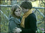 Amanda Knox and Raffaele Sollecito are shown Friday, Nov. 2, 2007, embrace outside the rented house where 21-year-old British student Meredith Kercher was found dead in Perugia, Italy