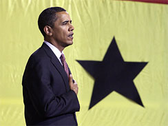 President Barack Obama arrives to speak to the Parliament of Ghana in Accra, Saturday, July 11, 2009.