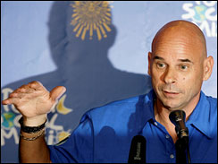 Cirque du Soleil impresario Guy Laliberte, seen here at a news conference in Moscow in June, will become the 7th space tourist in Sept. Laliberte says his planned trip to the International Space Station will be a