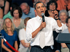 President Barack Obama speaks at a town hall meeting on health care reform. As a candidate, Obama promised health care negotiations would take place in the open, and even be broadcast on C-SPAN - a promise that he has not fulfilled.