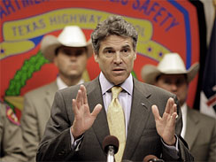 Texas Gov. Rick Perry speaks about border security during a news conference Thursday, Sept. 10, 2009 in Houston. Perry said special teams of Texas Rangers supported by about 200 Texas National Guard members will be deployed to the Texas-Mexico border to deal with increasing violence because the federal government has failed to address the problems.