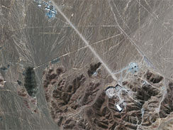 A GeoEye-1 satellite image taken of the suspect nuclear enrichment facility under construction.