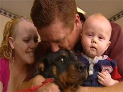 Ella, a lost Rottweiler, is reunited with her family.