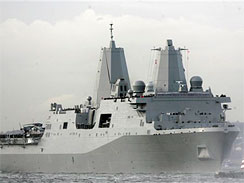 The USS New York is 684 feet long and can carry as many as 800 Marines. Its flight deck that can handle helicopters and the MV-22 Osprey tilt-rotor aircraft.