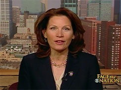 Rep. Michele Bachmann (R-Minn.) talks to Bob Schieffer on _Face the Nation,_ March 28, 2010.