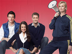 _Glee_ stars, from left, Corey Monteith, Lea Michele, Matthew  Morrison and Jane Lynch.