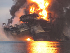 Oleander Benton, 52, recalled her tale escaping the Deepwater  Horizon platform to a lifeboat - one of 115 people to safely escape the  platform after the explosion a week ago. Eleven others are missing and  presumed dead.