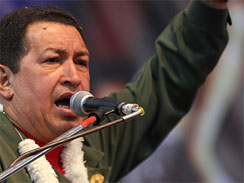 Venezuela's President Hugo Chavez speaks during the closing ceremony of the World People's Congress, April 27, 2010 (AP)