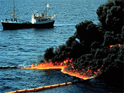 A boat floats beside a controlled burn of leaking oil in the Gulf  of Mexico April 28, 2010.