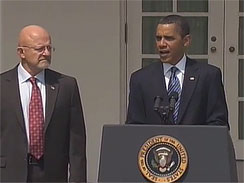 President Barack Obama nominates James Clapper, the Pentagon's top intelligence official and a retired Air Force three-star general, to oversee the nation's 16 spy agencies as national intelligence director, in a White House Rose Garden ceremony Saturday, June 5, 2010.