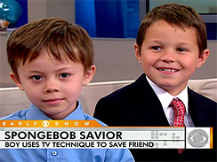 Five-year-old Andrew Gentile, left, was saved from drowing by his 8-year-old neighbor, Reese Ronceray, at right.