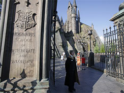The entrance to Hogwarts Castle is seen at The Wizarding World of  Harry Potter at Universal Orlando theme park in Orlando, Fla., June 9,  2010. The park-within-a-park opened to the public June 18.
