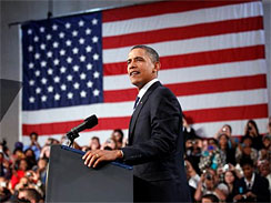 President Obama delivers a speech on the economy in Cleveland, Ohio on Sept. 8, 2010.