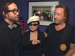 Sean Lennon, Yoko Ono and Julian Lennon at the opening of an  exhibition of Julian's photographs in New York City.