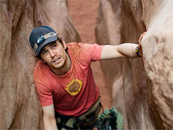 James Franco as Aron Ralston in the movie _127 Hours._
