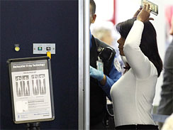 An airline passenger undergoes a full body scan at O'Hare International Airport Wednesday, Nov. 17, 2010 in Chicago.