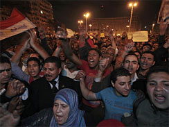 Protesters chant slogans during a demonstration in Tahrir square in downtown Cairo, Egypt, Sunday, Jan. 30, 2011.
