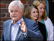 Sen. Edward M. Kennedy, D-Mass., waves as he walks out of Massachusetts General Hospital in Boston after he was released Wednesday, May 21, 2008.