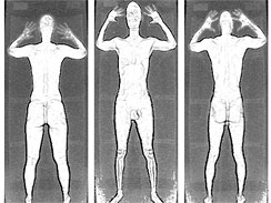 An image taken from the TSA's full-body scanner uses backscatter X-ray technology to produce an image through a passenger's clothing.